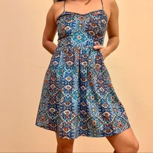 Colorful spaghetti strap dress with pockets